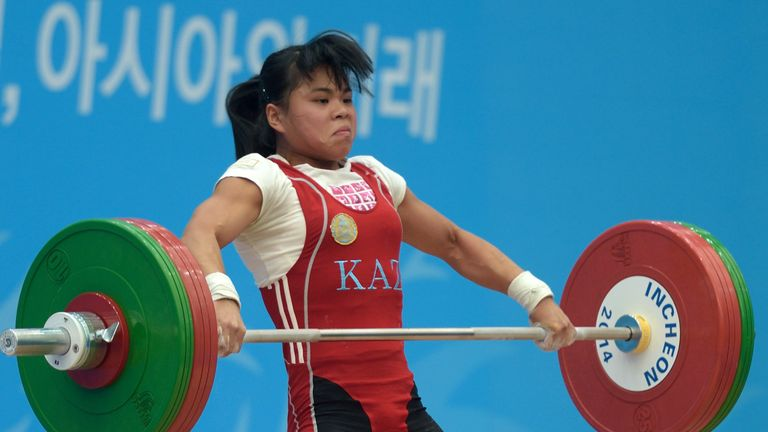 Kazakhstan's Zulfiya Chinshanlo lifts during the women's 53kg weightlifting event during the 2014 Asian Games
