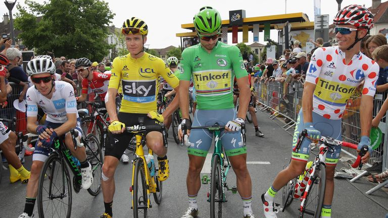 Adam Yates (left), Chris Froome (centre left) and Peter Sagan (centre right) were among the stars of the Tour de France