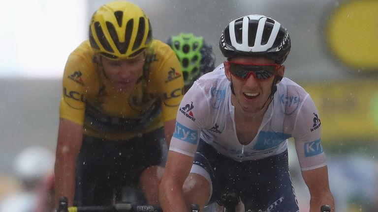 Yates leads Chris Froome over the finish line on stage nine