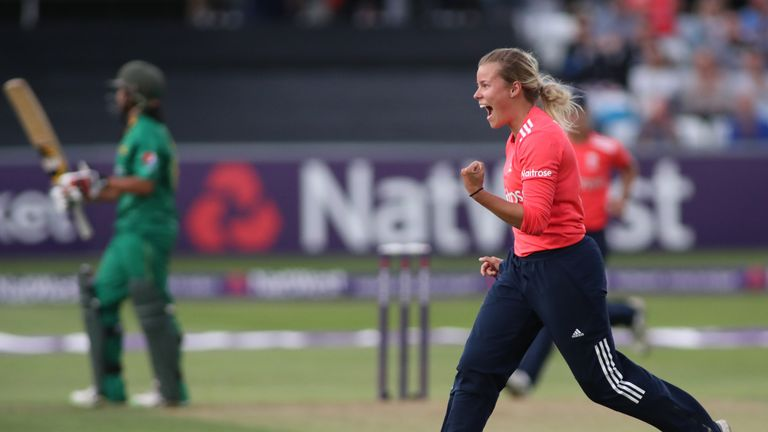 Alex Hartley celebrates dismissing Pakistan's Iram Javed in T20 match at Chelmsford