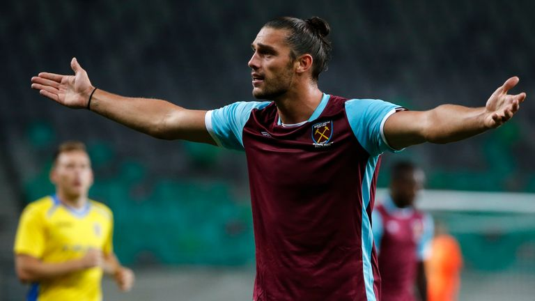 Andy Carroll reacts during West Ham's 2-1 defeat to NK Domzale in Slovenia