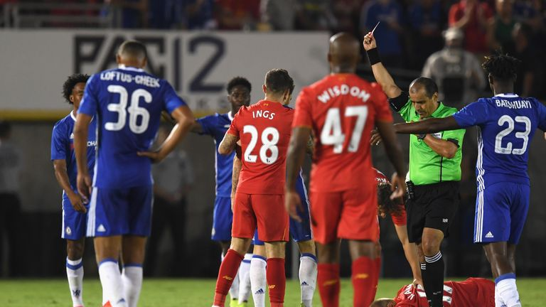 Cesc Fabregas was sent off after a lunge on Ragnar Klavan during Chelsea's 1-0 International Challenge Cup win over Liverpool
