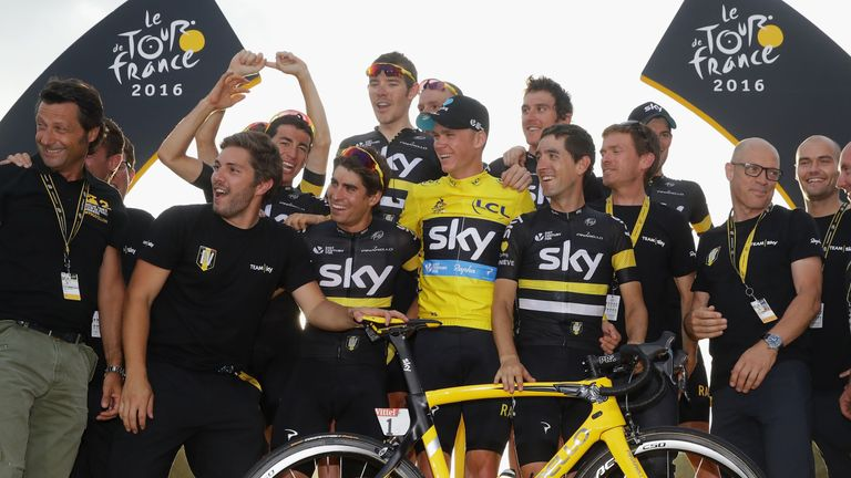 Chris Froome and his Team Sky team-mates celebrate winning the Tour de France