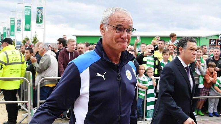Ranieri arrives at Celtic Park ahead of the match on Saturday