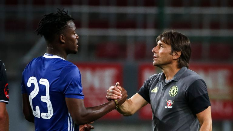 "Conte (R) is keen to create a ""good spirit"" at the club"