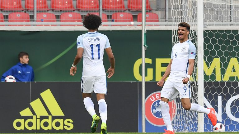 Dominic Solanke celebrates scoring for England in their 2-1 victory over France during in the European Under-19 Championship in Germany