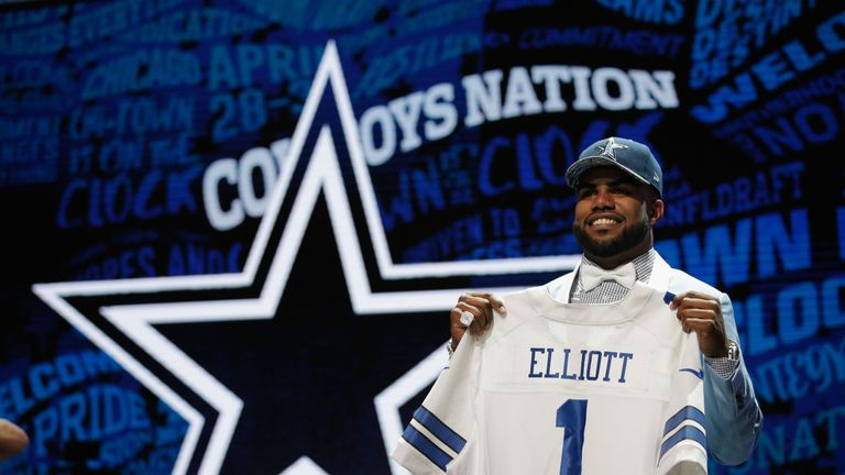 7fcb39937 Ezekiel Elliott of Ohio State holds up a jersey after being picked  4  overall by