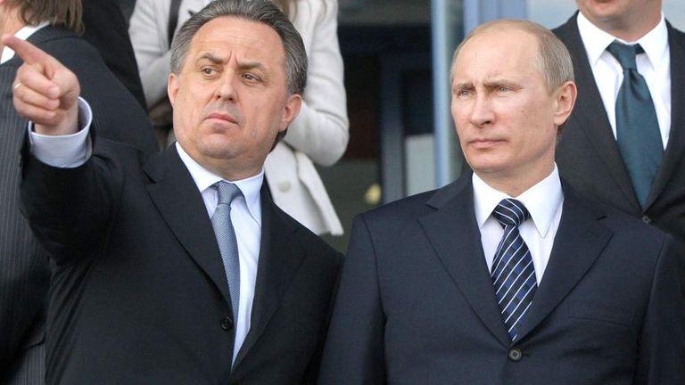 Russian sports minister Vitaly Mutko with Vladimir Putin