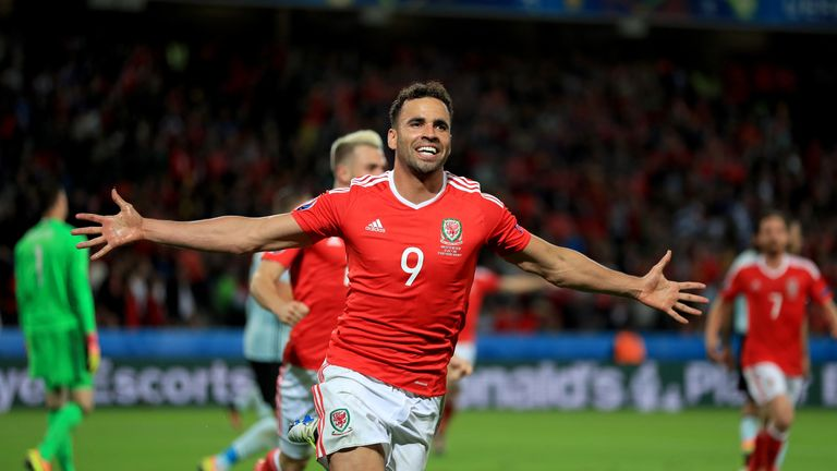Wales' Hal Robson-Kanu celebrates scoring his side's second goal of the game against Belgium