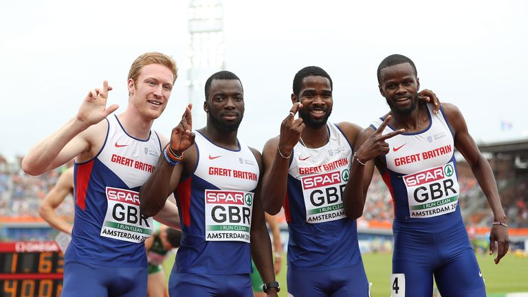 Jarryd Dunn, Nigel Levine, Delano Williams and Rabah Yousif Bkheit after running a European leading time of 3:01.63