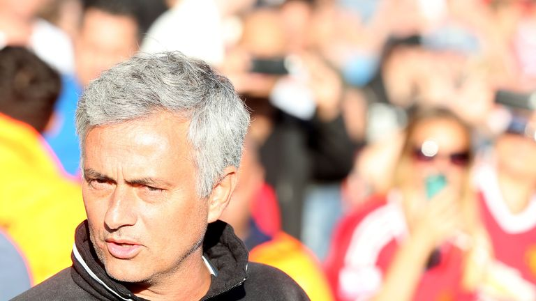 Jose Mourinho watches on during Manchester United's win over Galatasaray