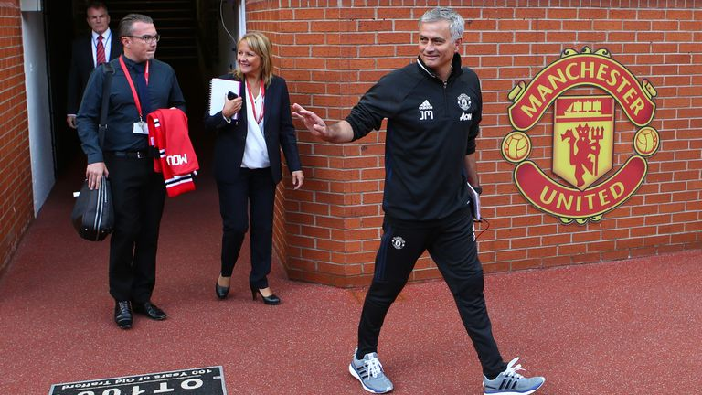 Mourinho was all smiles as he prepared to step onto the Old Trafford pitch this week