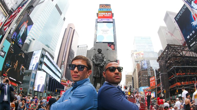 Kell Brook (right) and Golovkin pose in New York