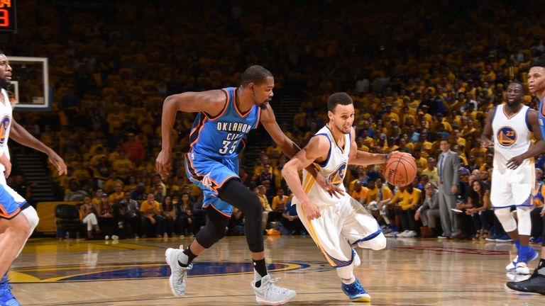 Durant (left) and Steph Curry will now be team-mates