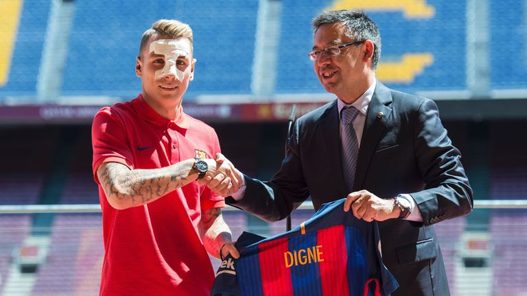 Lucas Digne (left) has also completed a move to Barcelona