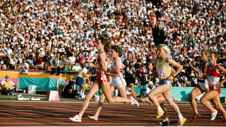 Decker, Budd and Maricica Puica (L-R) during the women's 3000m final at the 1984 Olympic Games