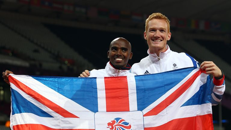 Farah won 10,000m gold on the same night as Greg Rutherford (right) was victorious in the long jump
