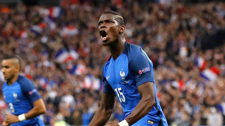 Pogba celebrates doubling France's lead against Iceland