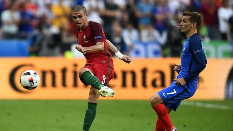 Pepe clears the ball from France forward Antoine Griezmann and was a prominent feature of the Euro 2016 final