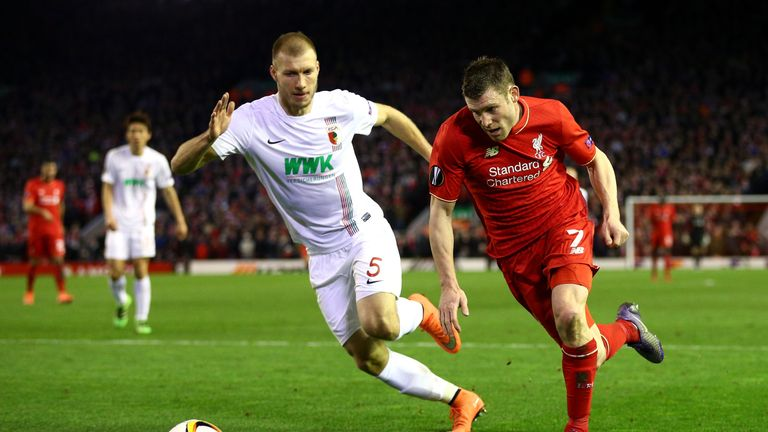 Klavan played in both legs of Augsburg's defeat to Liverpool in the Europa League last season