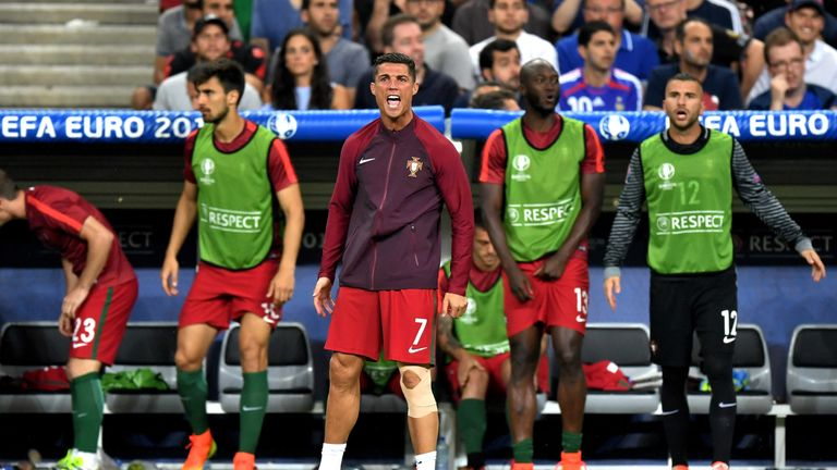 Ronaldo rallied his team-mates from the sidelines during extra-time of the Euro 2016 final