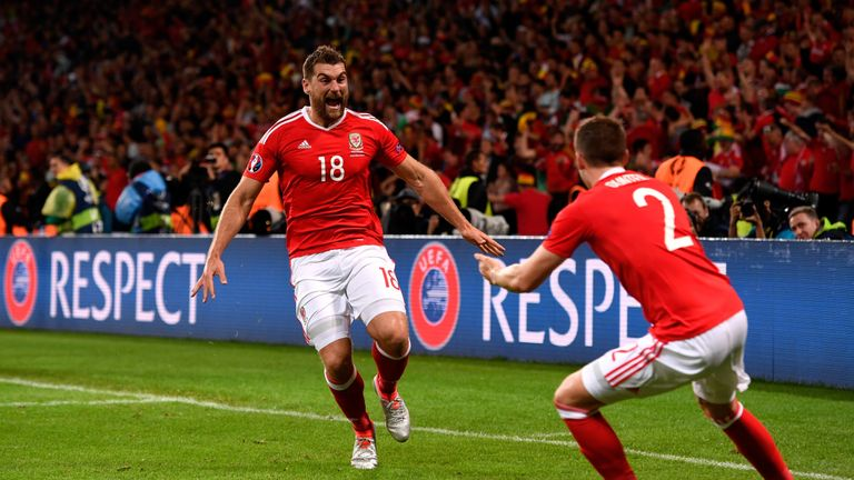 Sam Vokes scored in Wales' 3-1 quarter-final victory over Belgium