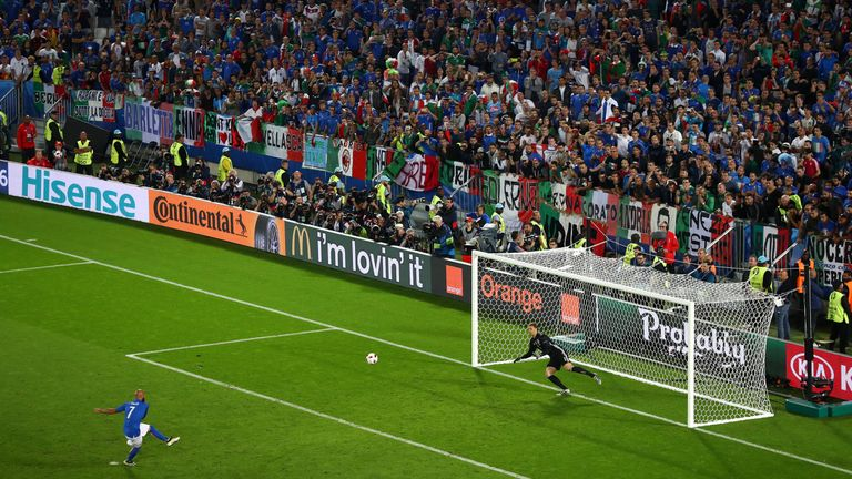 Simone Zaza of Italy misses in the penalty shootout