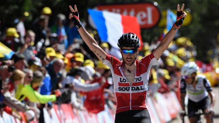 Thomas De Gendt celebrates as he wins stage 12 of the Tour de France