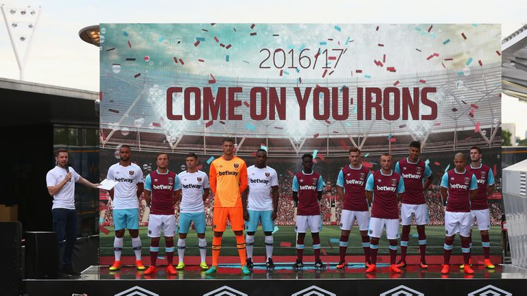 West Ham players model the new home and away kits for the 2016/17 season at their official kit launch