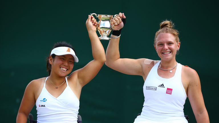 Yui Kamiji and Jordanne Whiley (right) claimed victory in the women's doubles wheelchair final