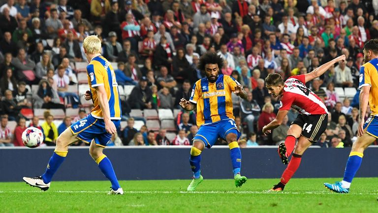 Adnan Januzaj scores the winner for Sunderland in the  EFL Cup second round match against Shrewsbury