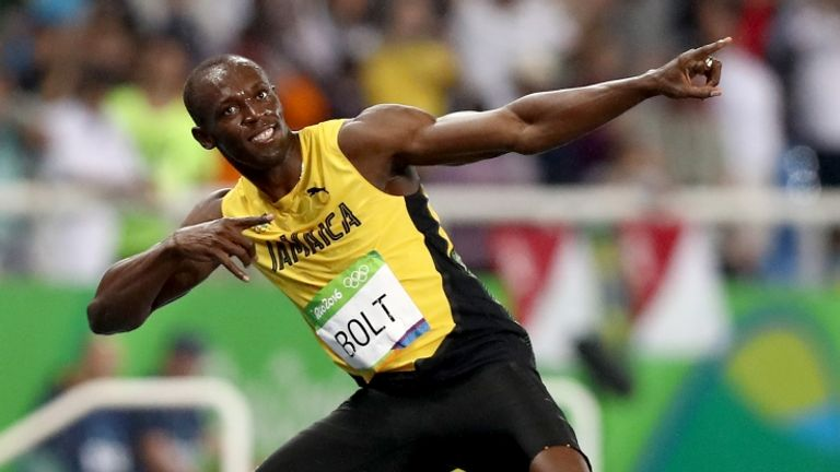 Bolt demonstrates his trademark 'lightning bolt' celebration