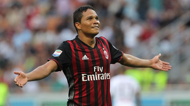 Carlos Bacca was back in action for AC Milan