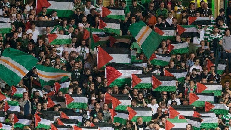 Palestinian flags were in evidence during  the play-off first leg at Celtic Park