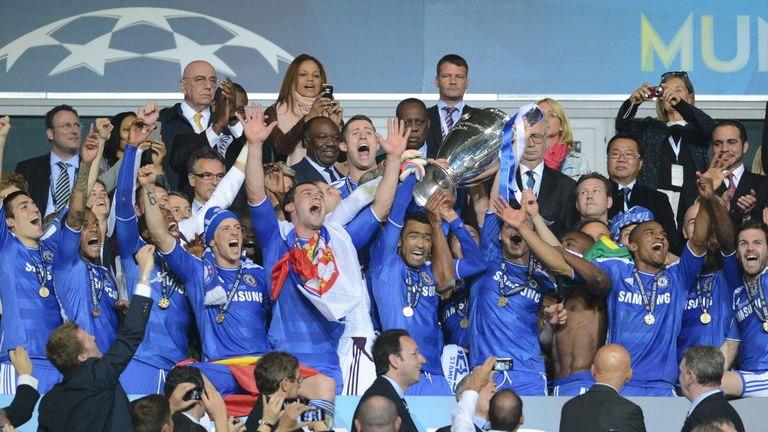 Chelsea's players celebrate after winning the 2012 Champions League