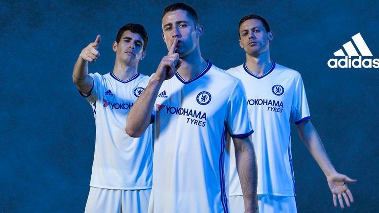 a863fcdf702 Oscar, Gary Cahill and Nemanja Matic (L-R) model Chelsea's third kit (Image