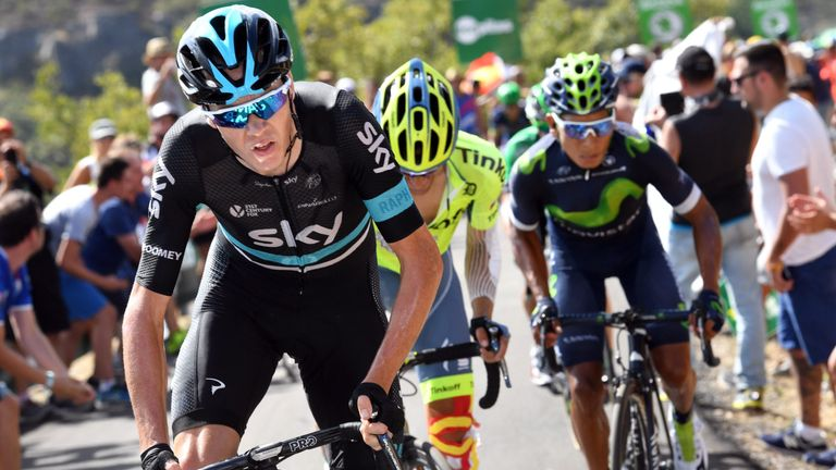 Chris Froome (left) attacked Nairo Quintana (right) and Alberto Contador (centre) but lost time on both
