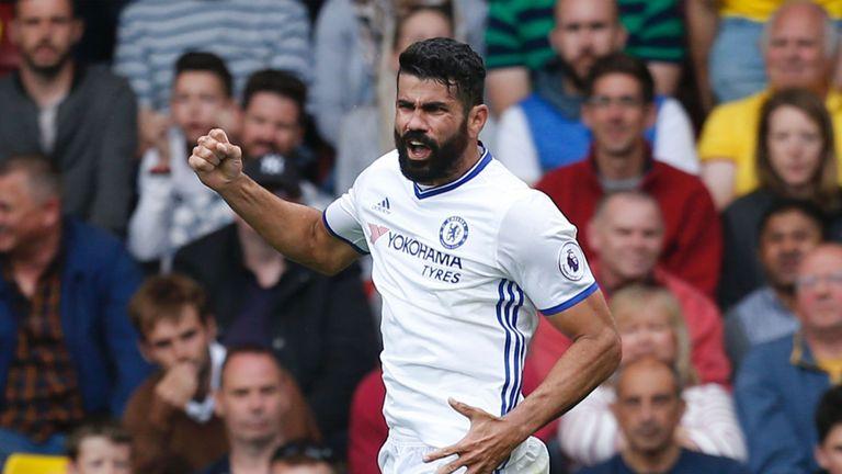 Chelsea's Spanish striker Diego Costa celebrates after scoring the winner
