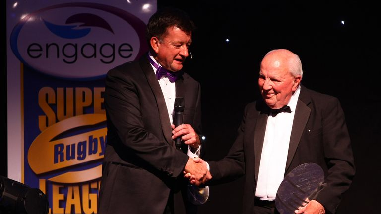 Sky's Eddie Hemmings presented Jepson with the Mike Gregory Spirit of Rugby League Award in 2011