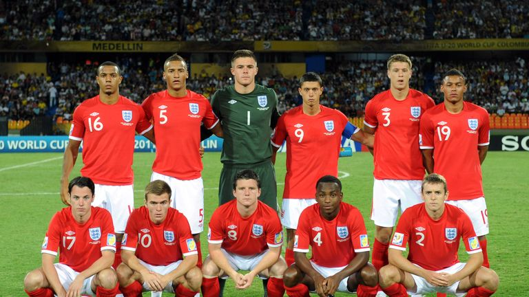 Knott and the England team against Argentina at the Under-20 World Cup