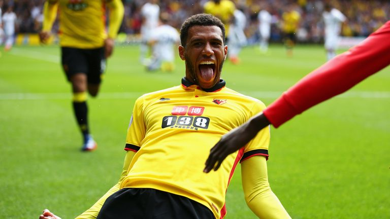 Etienne Capoue of Watford celebrates scoring his side's first goal against Chelsea