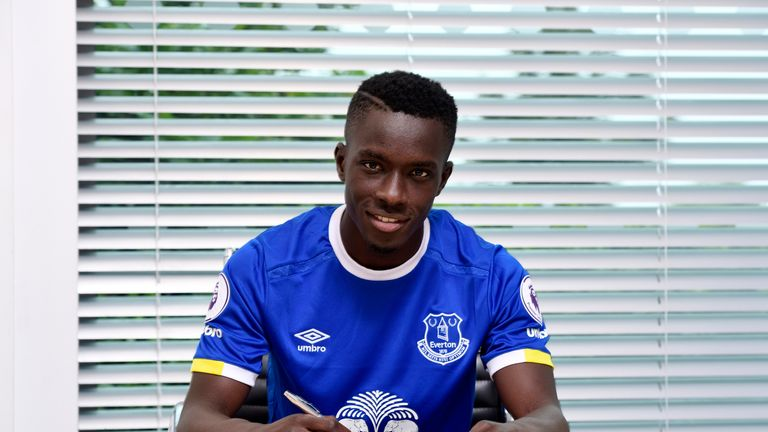 New Everton signing Idrissa Gueye poses for a photo at Finch Farm