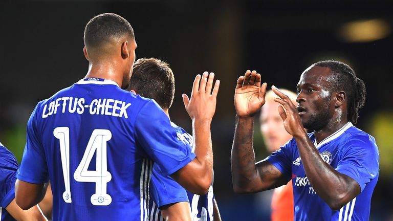 Victor Moses celebrates with Loftus-Cheek after scoring Chelsea's second