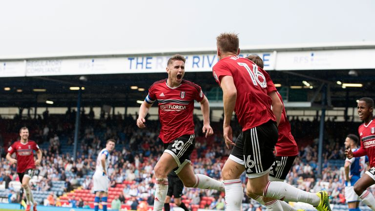 Tom Cairney of Fulham celebrates scoring the winning goal against his former club Blackburn