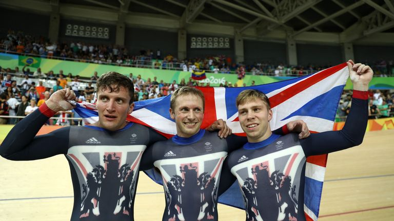 Kenny (C) was joined by Callum Skinner (L) and Philip Hindes (R) in beating New Zealand in the final