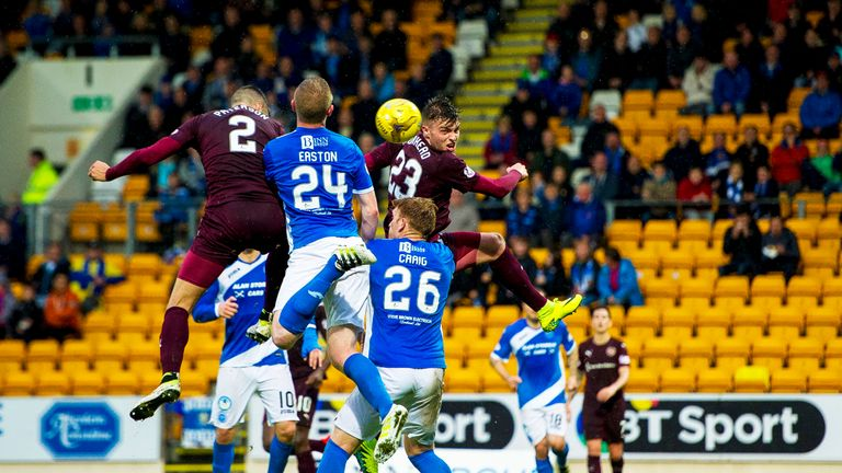 Callum Paterson (2) heads Hearts level at McDiarmid Park, but St Johnstone claimed the win
