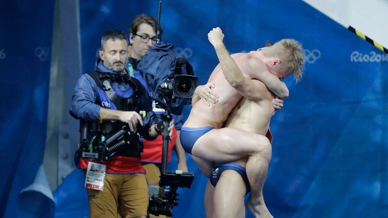 Britain's Jack Laugher and Chris Mears celebrate after winning the men's synchronized 3-meter springboard diving final