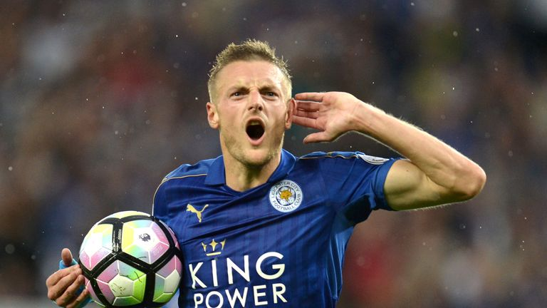 Jamie Vardy scored his first Premier League goal of the season at the King Power Stadium