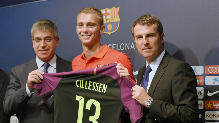Dutch goalkeeper Jasper Cillessen at his Barcelona unveiling on Friday