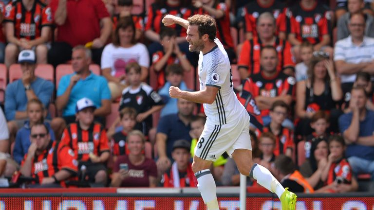 Juan Mata was one of two changes from the Community Shield starting XI